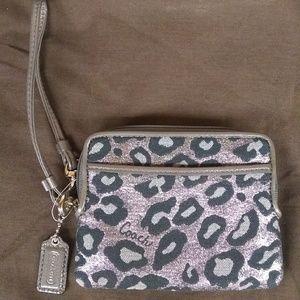 Coach snow leopard wallet/wristlet